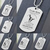 TO MY SON Daughter Stainless Necklace Steel Mother Father Pe...
