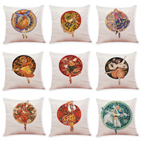 Folk- Custom Dancing Pattern Linen Cushion Covers Home Office...