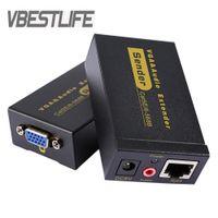 Freeshipping Dişi VGA Extender Lan CAT5e / 6 RJ45 Ethernet Adaptörü ve Stereo Ses Uzatma Dönüştürücü ABD Plug