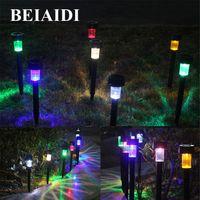 BEIAIDI 15PCS Solar Pathway Landscape Lights Giardino esterno Patio Yard Deck Prato Lampade Solar LED Spike Spot Spotlight Spotlight