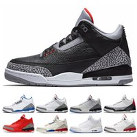 air jordan retro 3 Nueva llegada Pure White hombres zapatos de baloncesto International Flight Tinker JTH Katrina Free Throw Line blanco Negro Cement Fire Red zapatos deportivos