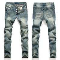 Hot Sale ! 2018 Man hole in light blue jeans nostalgic speed sell through foreign trade pants straight Beckham cowboy detonation model