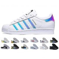 2018 Originaux Super Star Femmes Hommes Chaussures de sport Chaussures de sport Superstar Original Hologramme blanc Iridescent Junior Gold Superstars Sneakers 36-45