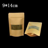 50 unids / lote 9 * 14 cm sellado a prueba de calor de pie bolsa de papel Kraft marrón con mate ventana clara del partido de alimentos secos nueces de res envoltura del embalaje bolsa de almacenamiento