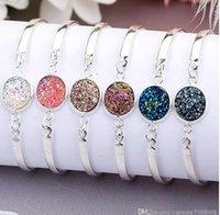 Weinlese-Armband Natur Geode Stein-Schmucksachen Silber Gold Liebe Armbänder für Frauen-Schmucksache-Partei-Hochzeit Zubehör