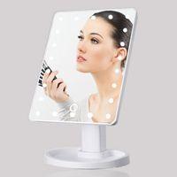 Espelhos de 360 Graus de Rotação Maquiagem Espelho Ajustável 16/22 Leds Iluminado LEVOU Tela de Toque Portátil Espelhos Cosméticos Luminosos