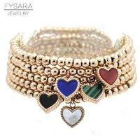 FYSARA Cara doble Color Heart Charm Stretch Strand Pulseras Brazaletes Mujer Joyería Acero inoxidable Love Love Beaded Bracelets