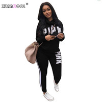 XUANCOOL 2018 New PINK Chándales para mujer de manga larga Top + Full Pants para mujer de dos piezas Outfits Sportswear Casual Plus Size S-XXXL