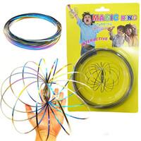 Toroflux Rainbow Flow Rings Acero inoxidable Muelle cinético Metal SUS 304 Magic Flow Ring 3D Escultura Anillo Juguetes interactivos para niños ELC762
