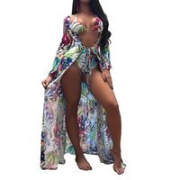 2018 Pareo Beach cover up+ print Floral Bikini set Swimwear W...