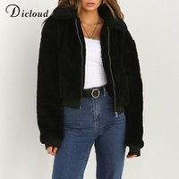 Dicloud Winter Teddy Jacket Basic Sherpa Parka Femmes Automne 2018 Chaud Longue Bombardon Veste Puffer Faux Fourrure Manteau Casual