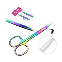 Profissional Rainbow Color Aço Inoxidável Pinça Sobrancelha Sobrancelha Pinça Mini Tesoura Clipe Anti-estática Face Removedor de Cabelo Ferramenta