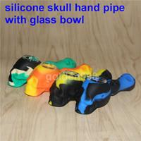 2017 bongs bongs verre bong 4 '' Silicone pipes à main pipes à eau plate-forme pétrolière silicone bongs pipe en verre pour fumer pipes à main