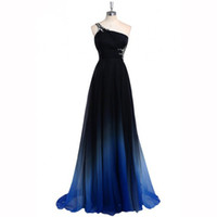 2018 New Real Photo Latest Ombre Prom Dress One Shoulder Gra...