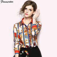 Blouses Chemises 2018 Nouveau Printemps Manches Longues Full Print Femmes Blouse Elegant Tops Chemisier Femme Casual Femme Chemise Blusa Mujer