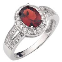 Anello in argento sterling 925 donne rosso naturale granato con gemme di cristallo solido gioielli con gemma 6x8mm di pietra ovale con gennaio compleanno Birthstone R013RGN
