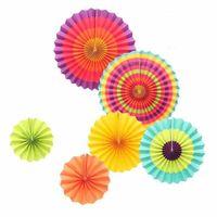 Ventiladores de papel de seda para las duchas Fiesta de cumpleaños de la boda Suministros de decoración Coloridos molinetes colgantes Artesanías de papel de la flor Nueva llegada 11yj CB