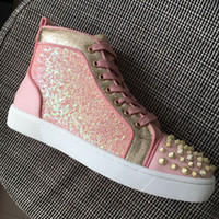New 2018 men women glitter spikes toe gold pink leather patc...