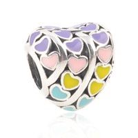5 pcs Lot Rainbow hearts shaped charms 925 sterling silver f...