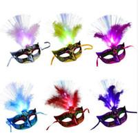 Maschera veneziana della piuma del LED delle donne Maschera luminosa di travestimento della maschera Addio al nubilato Fancy Dress Principessa Sfera Maschere Maschera di Carnevale