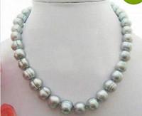 Magnifique collier de perles grises de la mer du Sud de 11 à 12 mm baroque avec fermoir en or 14 carats