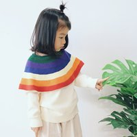 INS Girls clothing Sweaters Pullover Rainbow Big cape Hotsal...