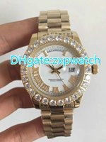 Prong set diamonds bezel watch automatic mens luxury gold ca...