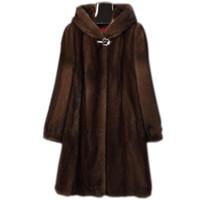 Escudo S-6XL nuevas mujeres ropa de alta imitación de piel de visón Abrigo Mujer largo de la capa encapuchada de piel falsa