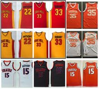 Oak Hill High School Carmelo Anthony Kevin Durant Basket Baskey Jersey Siracusa Arancione 15 Anthony Texas Longhorns 35 Durant College Camicia
