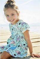 호 첼 아기 소녀 여름 드레스 아이 소녀 코 튼 tutu 드레스 유니콘 드레스 옷 공주 짧은 소매 선물