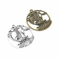 50PCS / lot venden Velero Barco colgantes de plata antiguo de bronce 43 * 39mm buena para el arte de DIY, la fabricación de joyas