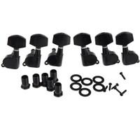 6 peças selado preto Tuning elétrico Pegs Tuner Machine Head 3R 3L / violão