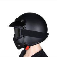 Motorrad-Sturzhelm Vintage Half Face Helm Retro deutschen Zerhacker-Kreuzer-Matte Black Helme cascos para DOT Approvel