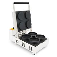Comercial 110 v 220 v 4 pcs Elétrica Mini Waffle Pizza Maker Máquina de Bancada Pizza Waffle Forno Baker Ferro Mould