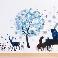 Mode Lady Jouer Piano sous les flocons de neige Stickers muraux Cerfs herbe mur Papier poster Salon Chambre fond Stickers