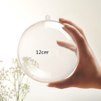 12x12cm Weihnachtsdekorationen Öffnungsfähiges transparenten Plastikweihnachtskugel-Flitter Weihnachtsbaum Ornament Party Hochzeit Klar Ball