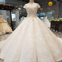 Ball Gown Wedding Gown 2019 O Neck Short Sleeve See- Through ...