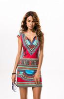 Dashiki elbise 2018 Yaz Seksi Afrika Baskı Gömlek Elbiseler Femme Vintage Mini hippi Artı Boyutu Boho Kadınlar Rahat Giyim