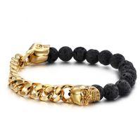 Punk pietre vulcaniche con bracciale in acciaio color oro con teschio Bangles Bracciale con catena a bretella cubano a catena a maglia cubana