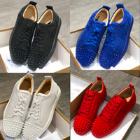 Gros chaussures en cuir rouge pic bas suède sneakers hommes cristal Spikes Low Cut Chaussures de sport Party Chaussures de mariage sport Casual Shoes