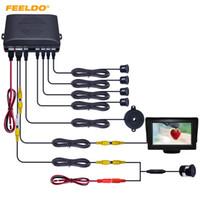 Feeldo 자동차 4.3inch LCD 모니터 4- 센서 주차 센서 18.5mm 스냅 링 카메라 반전 백미 주차 시스템 # 944