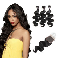 Ishow human hair bundles with closure 8A Brazilian Hair Body...