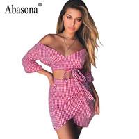 Robe de fête Abasona Femmes Mousseline de soie Été 2021 Sexy Bow Robe à carreaux à manches Noir Rouge Two Piece Deux Épaule