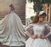 2018 великолепные кружева свадебные платья Sheer шеи длинный поезд с длинными рукавами кристаллы оборками аппликации арабский Дубай свадебные платья на заказ