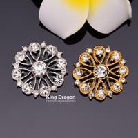 Bouton strass embellissement sans boucle 27MM 20pcs / lot dos plat couleur argent ou or couleur artisanat décoration KD01