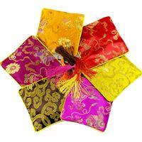 Anillo de joyería de alta calidad de la plaza de seda chino bolsa de la cremallera de cobre monedas fiesta de la boda borla favor bolsa de regalo de cadena del grano bolsa de viaje de almacenamiento