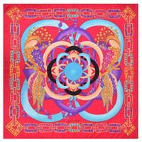 New Twill Silk Scarf Women Peacock Floral Printing Square Sciarpe Fashion Wrap Foulard femminile Grande Hijab Scialle fazzoletto da collo 130 * 130CM