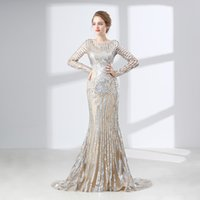 Sparkling Long- Sleeved Mermaid Prom Dresses Embroidery Lace ...