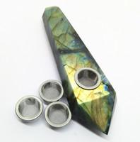 Schäumendes Naturlabradorit Kristall Rauchrohr mit drei Metallgeflechten und 1 Reinigungsbürste für die Tabakheilung