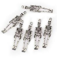 100 Pcs liga de Esqueleto humano Encantos Pingente de Prata antiga Encantos Para colar Jóias Fazendo achados 39x10mm